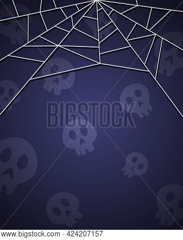 Halloween Background For Design With Skulls And Spiderweb