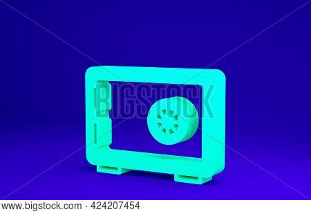 Green Safe Icon Isolated On Blue Background. The Door Safe A Bank Vault With A Combination Lock. Rel