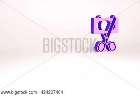 Purple Scissors Cutting Money Icon Isolated On White Background. Price, Cost Reduction Or Price Redu
