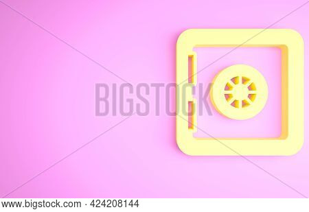 Yellow Safe Icon Isolated On Pink Background. The Door Safe A Bank Vault With A Combination Lock. Re