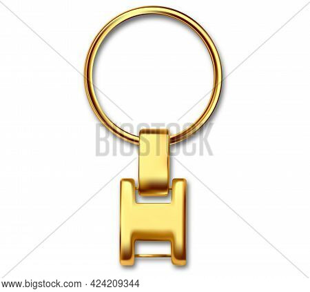 Keychains Set Keyring Holders Isolated On White Background. Gold Colored Accessories Or Souvenir Pen