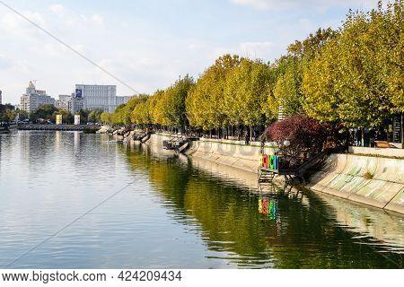 Bucharest, Romania, 7 November 2020: Yellow, Orange And Brown Leaves In Old Large Trees Near Dambovi