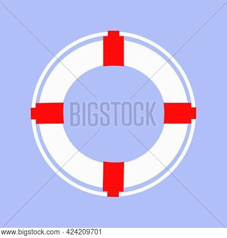 White Lifebuoy With Rope.isolated Veterinary Illustration.sea River Save People.marine Lifebuoy Wate