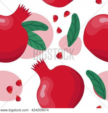 Pomegranate Seamless Pattern. Colorfull Red Pomegranate Whith Seeds And Leaves On The White Backgrou