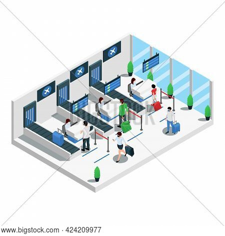 Airport Terminal Isometric Composition Passengers Check In And Passport Control Area Prior Of Flight