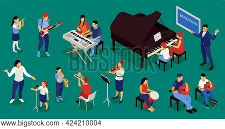 Music School Conservatory Professional Musicians Education Isometric Set With Piano Lesson Flute Vio