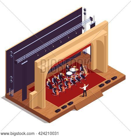 Opera Theatre Isometric Concept With Musical Performance And Play Symbols Vector Illustration