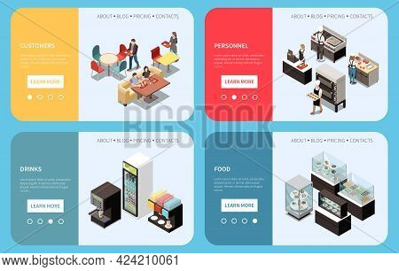 Food Court Service Concept 4 Isometric Webpages Set With Customers Locations Personnel Stalls Menu C