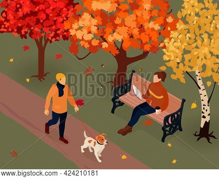 Autumn Fall Outdoor Activities Isometric Composition With Sitting Reading On Bench Dog Walking In Pa