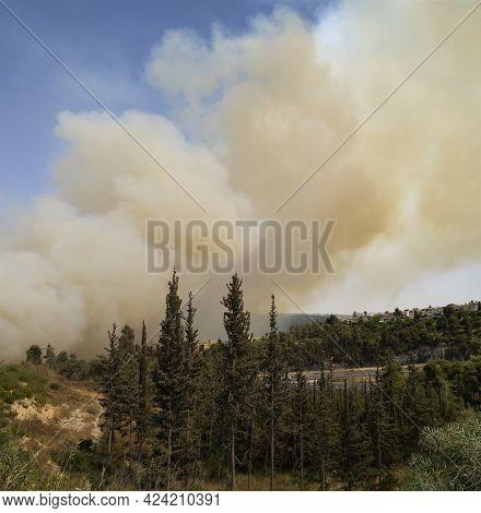Mevasseret Zion, Israel - June 19th, 2021: A Forest Fire On The Municipal Border Of A Town Near Jeru