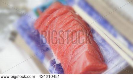 Tuna Sashimi. Otoro Sashimi Ready To Eat On Plate From Famous Shop In Supermarket.
