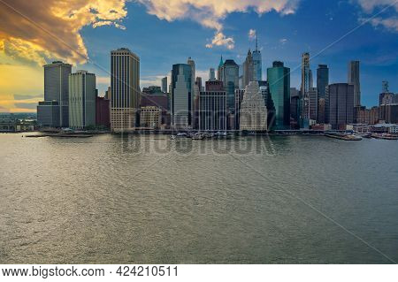 Aerial View Of The Panoramic Sunset Landscape Large Spectacular Buildings In New York City Ny Usa