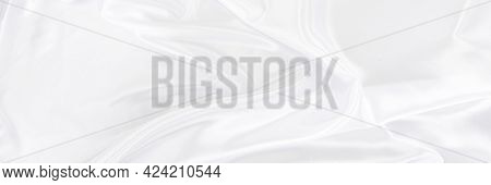 White Gray Satin Texture That Is White Silver Fabric Silk Panorama Background With Beautiful Soft Bl
