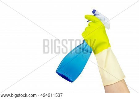 Spring Cleaning Concept. Spray Bottle Of Blue Window Cleaner On A White Background. The Concept Of C