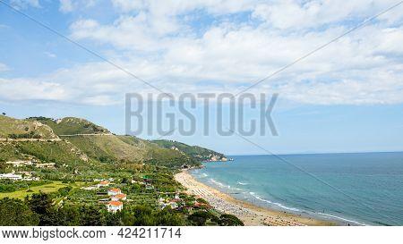 Sperlonga Town, Province Of Latina, Lazio Region. Panoramic Of The Beach From Above.