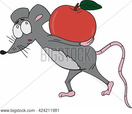 Cartoon Mouse With Guilty Look With Beetroot