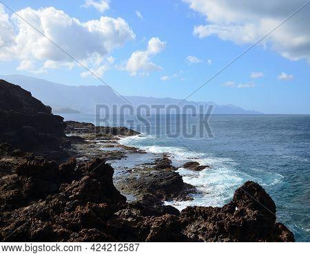 Coast Of Sardina In Foreground, Galdar, North Of Gran Canaria, Canary Islands