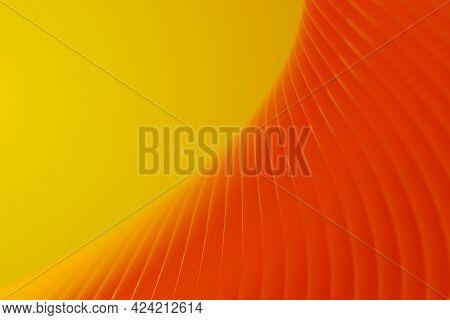 Vibrant Orange Wavy Shapes On Yellow Background. Digital 3d Rendering.