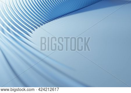 Light Blue Wavy Shapes, Background. Digital 3d Rendering.