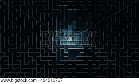 Office Worker Trapped In A Maze. Workaholic, Social Isolation Concept. Digital 3d Rendering.