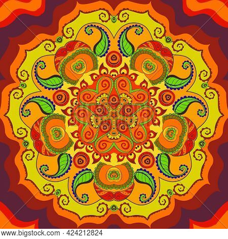 Bright Fiery Oriental Pattern . The Circular Symmetric Orament Composed Of Repetitive Elements . Ind