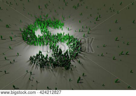 Green Arrows Growing, Forming A Dollar Sign Shape. Digital 3d Rendering.