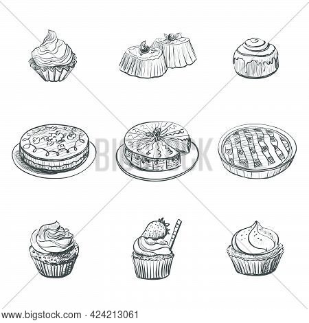 Collection Of Drawings On The Theme Cakes . Cakes , Pies , Bread , Biscuits And Other Confectionery