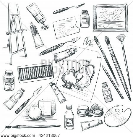 A Set Of Drawings On The Theme Of Visual Arts Education . Art Materials , Instruments.