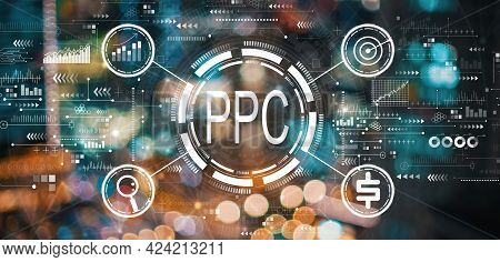 Ppc - Pay Per Click Concept With Blurred City Abstract Lights Background