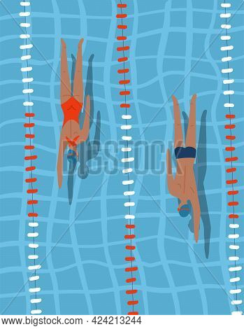 Pool Race - People In Sport Competition Swimming In Blue Water Inside Lane Lines. Swimmers Man And W