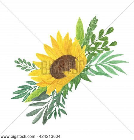 Floral Composition, Sunflower, Leaves Watercolor Illustration, Field Agricultural Plant Summer Bouqu