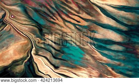 Brown And Turquoise, Green Abstract Picture, Background And Texture. Bright And Colorful, Creative A