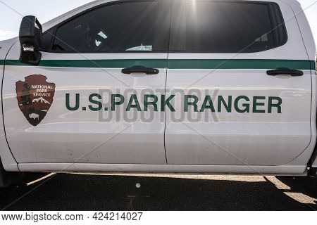Petrified Forest National Park, United States: March 11, 2021: Doors Of Us Park Ranger Truck Parked