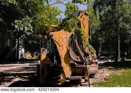 Moscow, Russia, 03.06.2021. Excavator At Sandpit During Earthmoving Works . High Quality Photo