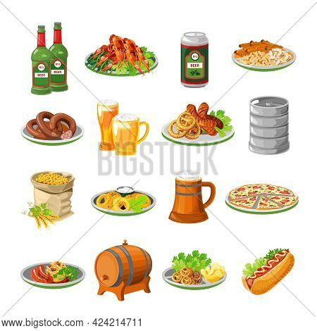 Annual Oktoberfest Festival Traditional Food With Sausage And Beer Barrel Flat Icons Collection Abst