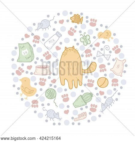 Round Pattern Of Cute Kitty, Cat Care Elements And Round Spots. Perfect For Scrapbooking, Textile An