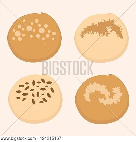 Set Of Four Different Cute Delicious Buns. Design For T-shirt, Textile And Prints. Hand Drawn Vector