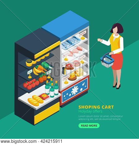 Isometric Supermarket Interior With Shelving Fridge And Purchaser With Shopping Basket  Beside Vecto