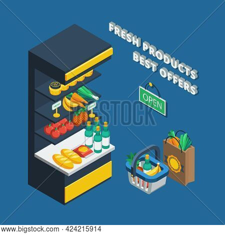 Isometric Shelving Icon In Abstract Shop And Different Accessories Like Shopping Basket  Pack And Op