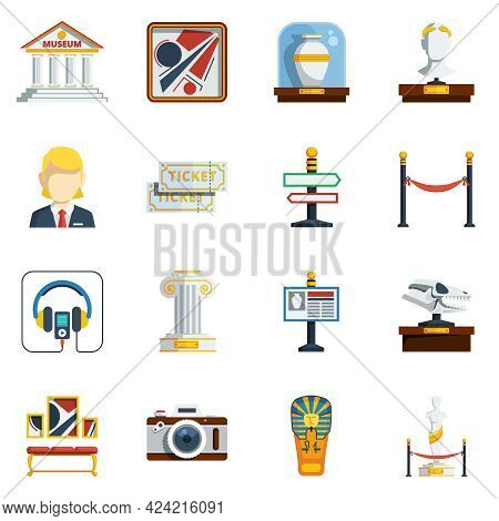 Museum Flat Icon Set With Colored Abstract Elements Like Pictures Antique Vase Labels Tickets Sculpt