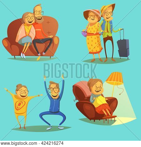 Senior People Icons Set With Pastimes Symbols On Blue Background Cartoon Isolated Vector Illustratio
