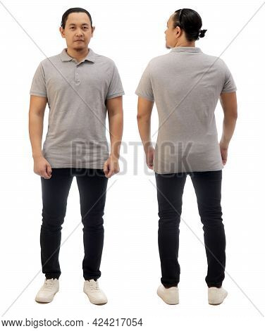Blank Collared Shirt Mock Up Template, Front And Back View, Asian Male Model Wearing Plain Grey T-sh