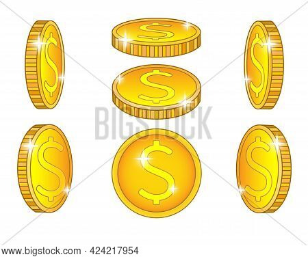 Shiny Coins. A Set Of Coins From Different Angles. Abstract Or Game Money Drawn From Different Sides