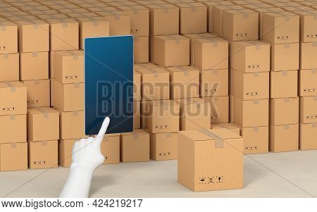 Stacked Cardboard Box With Operating Mobile Phone, 3D Rendering.