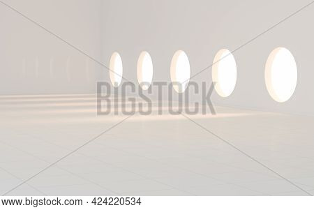 Empty White Room With Round Window, 3D Rendering.