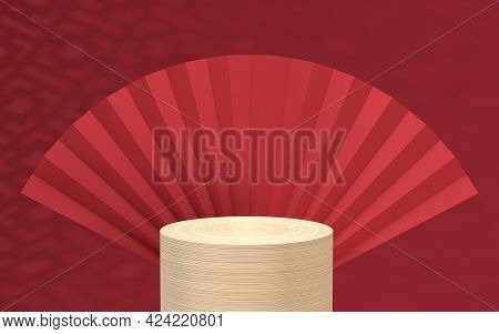 Empty Wood Stage With Chinese Background, 3D Rendering.