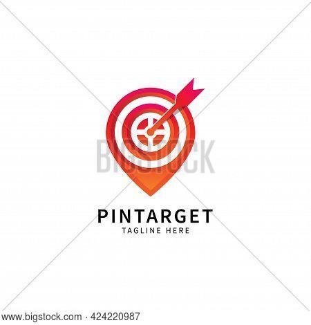 Modern Pin Target Or Location Targeting Logo, Icon Map, Business Marketing Logo Design