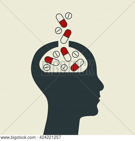 Pills And Brain Symbol. Profile Of Person With Falling Capsules. Treatment Of Depression. Therapy Of