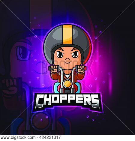 The Choppers Biker Mascot Esport Logo Design Of Illustration