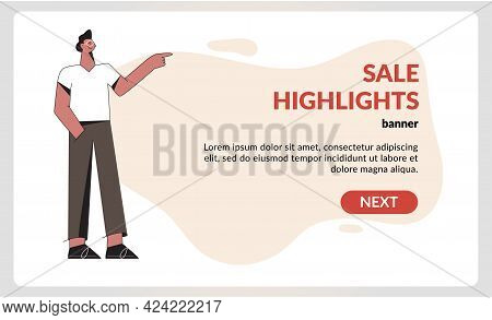 Standing Business Man In Casual Clothes Show Presentation Gesture. Guy Pointing With Hand And Advert